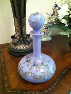 Very unusual lavender milk glass dresser bottle.  Gillinder.  c. 1900