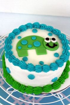 Adorable cake at a Turtle 1st Birthday Party! See more party ideas at CatchMyParty.com! #partyideas #turtle