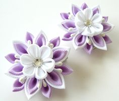 Kanzashi  Fabric Flowers. Set of 2 hair clips. Orchid and by JuLVa, $13.50