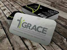 After designing a new logo for Grace Christian Fellowship, we applied it to new business cards and they came out great! The contrasting colors from the front to the back and the rounded corners make them look more interesting and feel more finished.