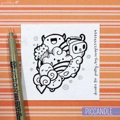 Doodle by PicCandle Cute Doodle Art, Doodle Art Designs, Doodle Art Drawing, Pencil Art Drawings, Kawaii Drawings, Cute Drawings, Cute Art, Easy Doodles Drawings, Love Doodles