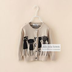 00088 TJ-7J113 Free shipping 5 pcs/lot Wholesale Cartoon kitten back striped cardigan sweater children's clothing autumn http://www.aliexpress.com/store/1047972