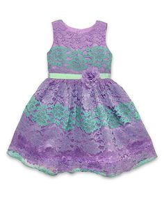 Lavender Lace-Accent Dress - Toddler & Girls