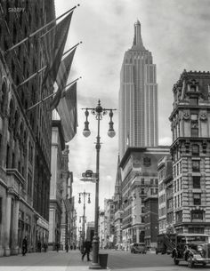 """Empire State Building...July 4, 1933. """"New York City. Empire State Building from 41st Street and Fifth Avenue."""""""