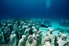 Jason deCaires Taylor is an internationally acclaimed eco-sculptor who creates underwater living sculptures, offering viewers mysterious, ephemeral encounters and fleeting glimmers of another world where art develops from the effects of nature on the efforts of man.