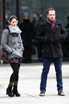 "Lucy Liu (Watson) and Jonny Lee Miller (Sherlock Holmes) filming ""Elementary"" in NYC."