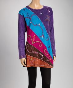 Take a look at this Purple & Blue Embroidered Nepal Tunic by India Boutique on #zulily today!