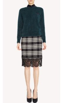 Sacai Lace Hem Plaid Pencil Skirt