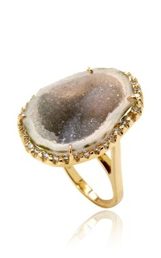 Green Geode And Diamond Ring In 18K Yellow Gold by Kimberly McDonald