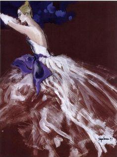 Fashion illustration by Steven Stipelman, 1991, Evening gown, Women's Wear Daily (WWD).