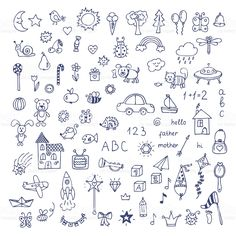 Drawing Doodles Ideas Set of hand drawn cute doodles. Doodle children drawing royalty-free stock vector art - Set of hand drawn cute doodles. Hand drawn set of drawings in child style. Cute Little Drawings, Small Drawings, Doodle Drawings, Easy Drawings, Doodle Illustrations, Little Doodles, Cute Doodles, How To Doodles, Hand Doodles
