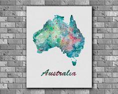 Australia Map watercolor  Art Print instant by digitalaquamarine