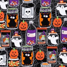 This spooky jar fabric is filled with ghoulish characters. What Halloween project will you use this fabric for?