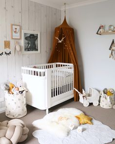 Mustard Canopy with white detailing. Boy or girl perfect gender neutral nursery. Georgia Cot from Incy Interiors
