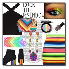 """Rock The Rainbow"" by emmy-124fashions ❤ liked on Polyvore featuring Topshop, BCBGMAXAZRIA, Y.R.U., Casetify, Ippolita, Rainbow, Deborah Lippmann and rainbow"