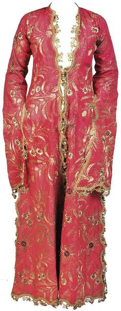 Late-Ottoman embroidered lady's robe (üçetek entari = robe with three panels), 19th century.  The pink silk robe embroidered in gilt-metal threads and sequins with floral sprays, trimmed with an ornate gilt-metal braid, and edged with 'oya' (Turkish lace).