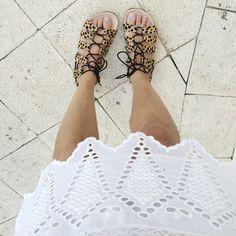 Loving my cheetah sandals and @ullajohnson dress. #xxjessie