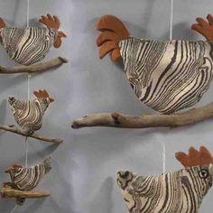 #Fensterhänger #Vogel - #Fenstergirlande #Raumschmuck - #Treibholz #Keramik