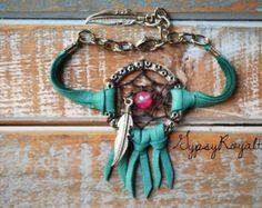 "Turquoise Dreamcatcher Deerskin Leather Dream Catcher Bracelet. Boho-Chic Jewelry. ""Dreaming Of An Endless Summer"" Dreamcatcher Bracelet"