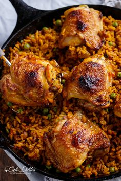 One Pan Crispy Spanish Chicken and Rice (Arroz Con Pollo) By: Ingredients: 5 chicken thighs, bone in and optional skin on Salt and freshly ground black pepper 1 teaspoon garlic powder 1 tablespoon olive oil 1 large onion, chopped Asian Recipes, Mexican Food Recipes, Ethnic Recipes, Spanish Recipes, Spanish Cuisine, Spanish Chicken, Korean Chicken, Korean Beef, Pollo Spanish