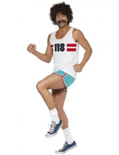 Buy this funny men's runner costume online now! This hilarious adult marathon runner costume by Smiffy's is in stock for express delivery Australia wide. Go at your own pace tonight in this funny men's running man costume! Funny Fancy Dress, Fancy Dress Shops, Best 80s Costumes, Adult Costumes, Wicked Costumes, Sport Outfit, 80s Outfit, Costume Halloween Homme, Adult Halloween