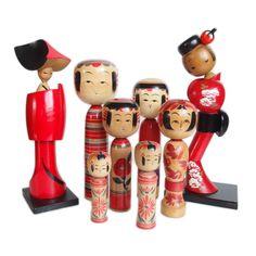 Red and black kokeshi dolls! #kokeshi #doll #kokeshidoll #red #black #japan #woodworking #japanese #kokeshidolls