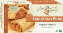 Organic Roasted #SweetPotato Fillo Pocket Sandwich (5 oz.) - Oven-roasted mashed Sweet Potatoes, Onions and Garlic seasoned with Rosemary, Paprika and Cayenne Pepper, wrapped with Organic #Fillo dough in the shape of a hand-held rectangle. Microwavable. #Healthy: USDA #Organic, #Vegan, #Kosher OU-Parve, Yeast-Free, No Trans-Fat, No Cholesterol. See nutrition or shop online at http://www.fillofactory.com/brands/brands-aunt-trudys.html.