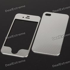 Stylish Dot Pattern Metal Sticker Cover Skin Protector for Iphone 4 - Silver