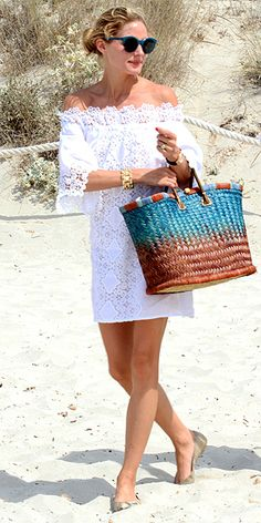 Love Her Outfit! Star Style to Steal   OLIVIA PALERMO   What, you thought the queen of street style would wear ratty cutoffs and a bro tank to the beach? The socialite perfects the art of seaside style in a lovely eyelet off-the-shoulder dress, then gets bonus style points for matching her eyewear to her beach bag and topping it all off with chic golden cuffs.