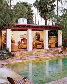 """Spanish Style pool patio - """"He wanted a Spanish Colonial Revival house reminiscent of ones designed by George Washington Smith,"""" architect Marc Appleton says of the residence he and designer Mark Enos created for Dwight Stuart, Jr., in Beverly Hills. Spanish Colonial Homes, Spanish Style Homes, Spanish Revival, Spanish House Design, Mission Style Homes, Spanish Architecture, Colonial Revival Architecture, Mediterranean Home Decor, Pool Houses"""