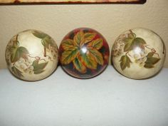 Vintage Set of 3 Large Hand Painted Victorian Ceramic Balls