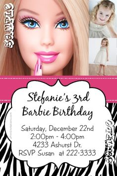 Barbie Animal Print Birthday Invitations ALL COLORS -  Get these invitations RIGHT NOW. Design yourself online, download and print IMMEDIATELY! Or choose my printing services. No software download is required. Free to try!
