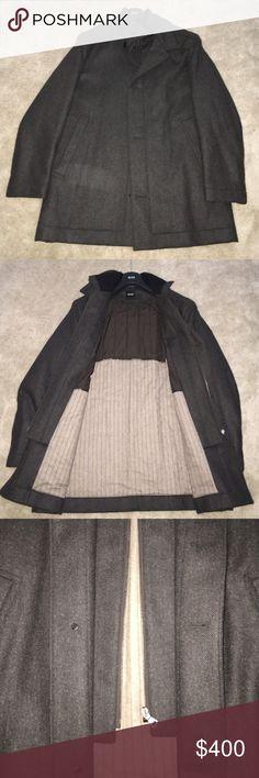 Hugo Boss Wool Coat Wool zip/button front Hugo Boss Coat. Worn once. Like New. SEE ADDITIONAL PHOTOS Hugo Boss Jackets & Coats Pea Coats