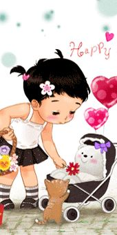 My sweet baby Sweet Drawings, Cartoon Drawings, Gif Animé, Animated Gif, Girl Cartoon, Cute Cartoon, Cute Images, Cute Pictures, Happy Mothers Day Pictures