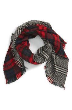 Emanuel Geraldo Emanuel GeraldoReversible Plaid & Houndstooth BlanketScarf available at #Nordstrom