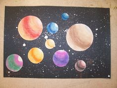 kinder lesson. small medium large planets with chalk pastels. splatter paint and glitter