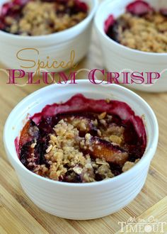 Spiced Plum Crisp is the easiest, most delightful dessert (or breakfast!) you will make this season! | MomOnTimeout.com