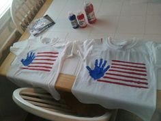 4th of July tshirt with hand prints