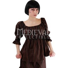 Steampunk Striped Peasant Top - PH-1034 by Medieval Collectibles