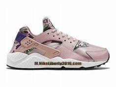 Nike Wmns Air Huarache Run Print GS Chaussure Nike Basketball Pas Cher (Taille Femme) Rose/Blanc