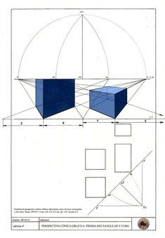 E. PLÁSTICA Y VISUAL 3ºESO: Lámina 27: Pespectiva cónica oblicua: Prisma rectangular y cubo