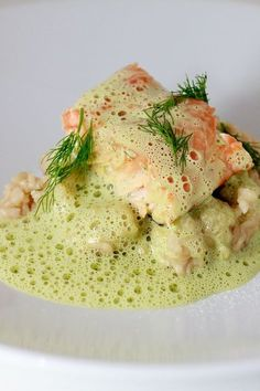 Salmon fried on the skin on a pithy dill risotto, with frothy, airy dill sabayon. Salmon fried on the skin on a pithy dill risotto, with frothy, airy dill sabayon. Shrimp Recipes, Salmon Recipes, Fish Recipes, Gourmet Recipes, Healthy Recipes, Healthy Food, Salmon Risotto, Roasted Salmon, Fish Dishes
