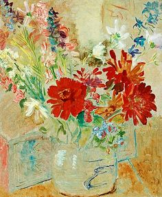 ISAAC GRÜNEWALD, Still life with summer flowers. Signed Grünewald and dated -28. Panel 73 x 60 cm.. - Spring Modern Auction, Stockholm 560 –...