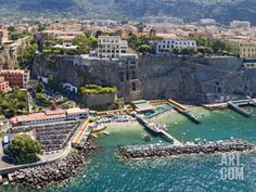 Aerial View of a Town, Sorrento, Marina Piccola, Naples, Campania, Italy Photographic Print by Panoramic Images at Art.com