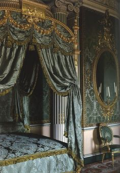 I love the teal and gold combination in this room; the state bed and mirror were both designed by Thomas Chippendale.