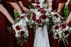 A Beautiful Destination Wedding in Maui in Burgundy and White Bridesmaid Bouquet White, Burgundy Bridesmaid, White Wedding Bouquets, Flower Bouquet Wedding, White Hydrangea Bouquet, White Flower Centerpieces, Wedding Centerpieces, Wedding Decorations, Burgendy Wedding