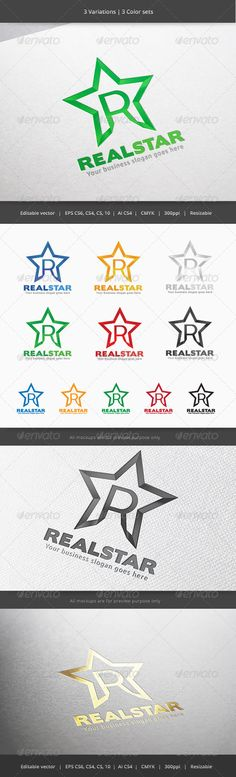 Real Star Letter R Logo — Vector EPS #rock #gradient • Available here → https://graphicriver.net/item/real-star-letter-r-logo/6018691?ref=pxcr