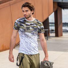 Allover designs Army Shirts, Mens Tee Shirts, Silk Screen T Shirts, Camisa Polo, Long Sleeve Tee Shirts, Shirt Outfit, Printed Shirts, Trendy Fashion, Shirt Designs