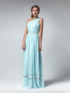 Sheer Neckline One Shoulder Beaded Long Blush Peach Bridesmaid Dress/ Prom Dress