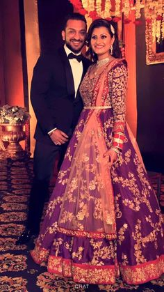 Real Couple-Bridal couture by Shyamal & Bhumika Indian Bridal Lehenga, Indian Bridal Fashion, Indian Bridal Wear, Asian Bridal, Bride Indian, Indian Weddings, Indian Attire, Indian Ethnic Wear, Indian Dresses